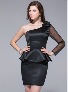 Sheath/Column One-Shoulder Short/Mini Satin Tulle Cocktail Dress With Bow(s) Cascading Ruffles
