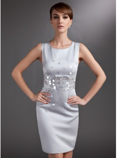 Sheath Scoop Neck Knee-Length Satin Mother of the Bride Dress With Sequins