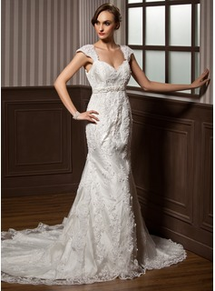 Mermaid Sweetheart Chapel Train Satin Tulle Wedding Dress With Lace Beadwork