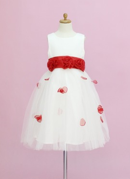 A-Line/Princess Scoop Neck Ankle-Length Organza Satin Tulle Flower Girl Dress With Sash Flower(s) (010005345)