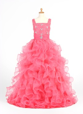 A-Line/Princess Scoop Neck Sweep Train Organza Satin Flower Girl Dress With Ruffle Beading (010005873)