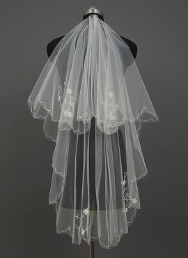One-tier Waltz Bridal Veils With Pencil Edge (006034408)