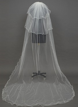 Three-tier Chapel Bridal Veils With Scalloped Edge (006034414)