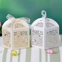 Floral Cut Out Cuboid Favor Boxes With Ribbons (Set of 12) (050032985)