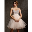 Empire Sweetheart Knee-Length Tulle Homecoming Dress With Beading Sequins (022008941)