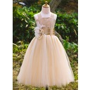 Princess Satin/Lace Girl Dress With Beading/Flowers (010071495)