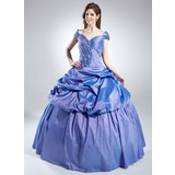 Ball-Gown Off-the-Shoulder Floor-Length Taffeta Quinceanera Dress With Ruffle Beading (021016022)