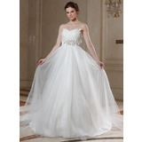 Empire Sweetheart Court Train Satin Tulle Wedding Dress With Beadwork Feather Appliques Sequins