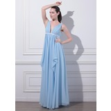 Empire V-neck Floor-Length Chiffon Evening Dress With Ruffle Sash (017012863)