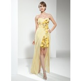 Sheath Sweetheart Floor-Length Chiffon Cocktail Dress With Ruffle Beading Sequins