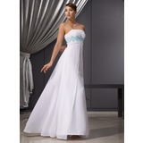 Empire Strapless Floor-Length Chiffon Evening Dress With Ruffle Beading Sequins