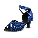 Women's Fabric Sparkling Glitter Heels Sandals Latin Ballroom With Ankle Strap Dance Shoes