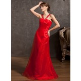 Empire V-neck Floor-Length Organza Evening Dress With Beading
