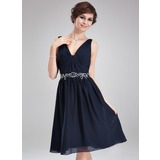 A-Line/Princess V-neck Knee-Length Chiffon Cocktail Dress With Ruffle Beading