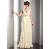 Sheath Halter V-neck Floor-Length Chiffon Holiday Dress With Ruffle Beading