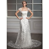 A-Line/Princess Square Neckline Court Train Lace Wedding Dress With Ruffle Beading Sequins