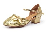 Women's Kids' Sparkling Glitter Heels Modern With Bowknot Dance Shoes
