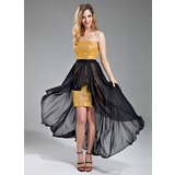 Sheath Strapless Asymmetrical Detachable Chiffon Sequined Evening Dress With Sash