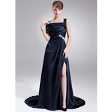 A-Line/Princess Off-the-Shoulder Sweep Train Charmeuse Prom Dress With Ruffle Appliques Split Front
