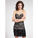 Sheath Sweetheart Short/Mini Charmeuse Lace Prom Dress With Sequins (018018848)