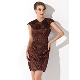 Sheath V-neck Knee-Length Charmeuse Cocktail Dress With Sequins (016008611)