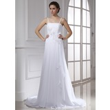 A-Line/Princess Chapel Train Chiffon Wedding Dress With Lace Beading Cascading Ruffles