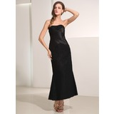 Sheath Sweetheart Ankle-Length Satin Lace Holiday Dress With Ruffle Lace (020014194)