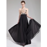 Empire Strapless Floor-Length Chiffon Evening Dress With Beading Flower(s)