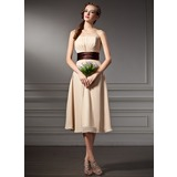 Empire Sweetheart Knee-Length Chiffon Charmeuse Bridesmaid Dress With Ruffle Sash