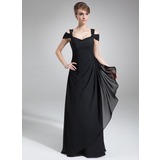 Sheath Off-the-Shoulder Floor-Length Chiffon Evening Dress With Ruffle