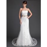 A-Line/Princess Strapless Court Train Satin Tulle Wedding Dress With Lace Sashes Crystal Brooch Sequins (002011998)