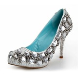 Women's Real Leather Cone Heel Closed Toe Platform Pumps With Rhinestone Crystal Heel