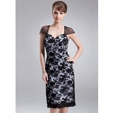 Sheath/Column Sweetheart Knee-Length Charmeuse Lace Mother of the Bride Dress