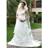Empire V-neck Chapel Train Organza Satin Wedding Dress With Ruffle Beadwork Flower(s) (002000620)