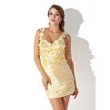 Sheath/Column V-neck Short/Mini Charmeuse Homecoming Dress With Ruffle Beading Flower(s)