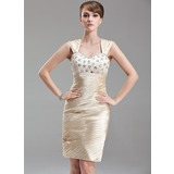 Sheath/Column Sweetheart Knee-Length Charmeuse Lace Mother of the Bride Dress With Ruffle Beading