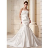 Mermaid Strapless Cathedral Train Satin Wedding Dress With Ruffle (002019527)