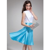 A-Line/Princess Cowl Neck Knee-Length Charmeuse Cocktail Dress With Ruffle