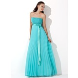 A-Line/Princess Strapless Floor-Length Chiffon Charmeuse Evening Dress With Ruffle Sequins (017013100)