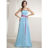 Sheath/Column Strapless Floor-Length Satin Bridesmaid Dress With Sash