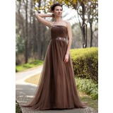 Empire Strapless Sweep Train Tulle Mother of the Bride Dress With Ruffle Beading
