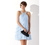 Sheath Halter Short/Mini Chiffon Homecoming Dress With Beading (022009256)