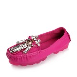 Real Leather Flat Heel Flats Closed Toe With Crystal shoes