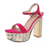 Real Leather Chunky Heel Slingbacks Pumps Sandals With Crystal Heel (086025053)
