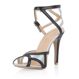 Patent Leather Stiletto Heel Sandals Pumps With Buckle shoes (087054109)