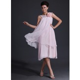 A-Line/Princess Scoop Neck Tea-Length Chiffon Bridesmaid Dress With Flower(s)