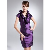 Sheath V-neck Short/Mini Taffeta Cocktail Dress With Ruffle