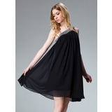 A-Line/Princess One-Shoulder Knee-Length Chiffon Holiday Dress With Ruffle Beading (020003242)