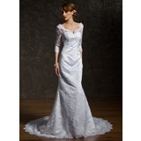 Mermaid V-neck Chapel Train Satin Lace Wedding Dress