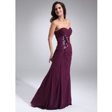 Sheath Sweetheart Floor-Length Chiffon Evening Dress With Ruffle Beading Flower(s)